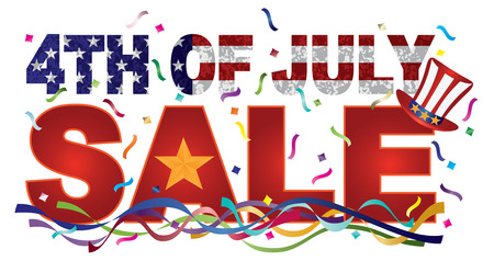 4th of July Happy Independence Day Sale Header American Flag Grunge Texture Outline Gold Star Illustration