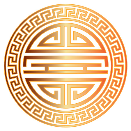 Chinese Longevity gold symbol character with scroll border for birthday celebration illustration