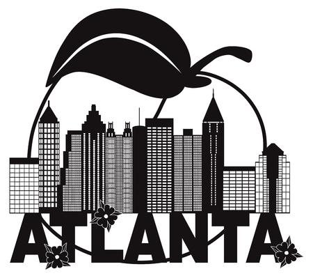 アトランタ ジョージア都市スカイラインと Abstract 桃ヤマボウシの花が白と黒本文イラストレーション