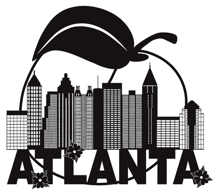 Atlanta Georgia City Skyline Abstract with Peach Dogwood Flowers black and white Text llustration