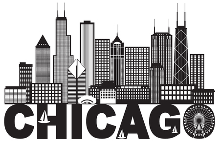 Chicago City Skyline Panorama Black Outline Silhouette with Text Isolated on White Background Illustration
