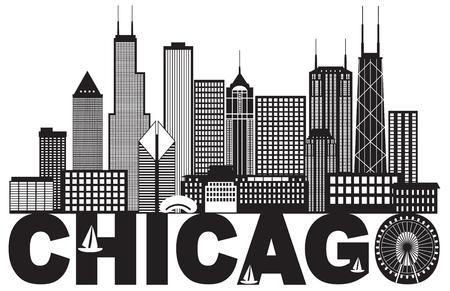 Chicago-Stadt-Skyline-Panorama-Schwarz-Entwurfs-Schattenbild mit dem Text lokalisiert auf weißer Hintergrund-Illustration Standard-Bild - 79413809