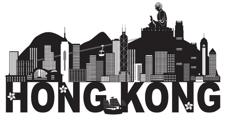 Hong Kong City Skyline and Big Buddha Statue Panorama Black Abstract Text Isolated on White Background Illustration