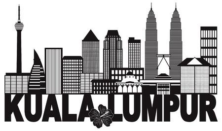Kuala Lumpur Malaysia City Skyline Text State Flower Hibiscus Black Isolated on White Background Illustration