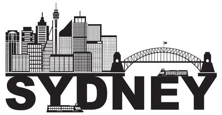 Sydney Australia Skyline Landmarks Harbour Bridge Black Abstract Isolated on White Background Illustration