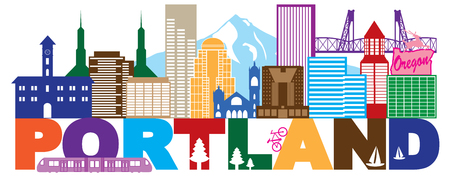 Portland Oregon Outline Silhouette with City Skyline Downtown Panorama and Text ColorIsolated on White Background Illustration Çizim
