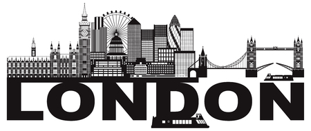 London England Skyline Panorama with Tower Bridge and Westminster Palace with Black and White Text Illustration