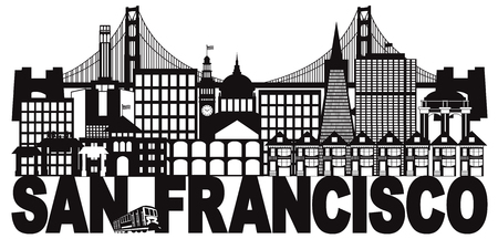 San Francisco California City Skyline with Golden Gate Bridge Black and White Text Illustration Ilustração