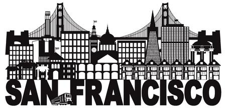 San Francisco California City Skyline with Golden Gate Bridge Black and White Text Illustration Vettoriali