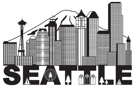 Seattle Washington Downtown City Skyline and Text in Black Isolated on White Background Illustration
