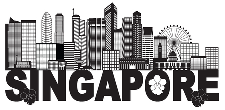 Singapore City Skyline Silhouette Outline Panorama Text Black Isolated on White Background Illustration Illustration