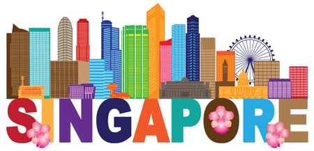 Singapore City Skyline Silhouette Outline Panorama Text Color Isolated on White Background Illustration