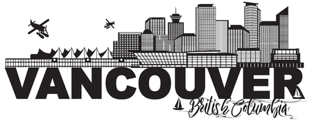 Vancouver British Columbia Canada City Skyline Text Black and White Illustration