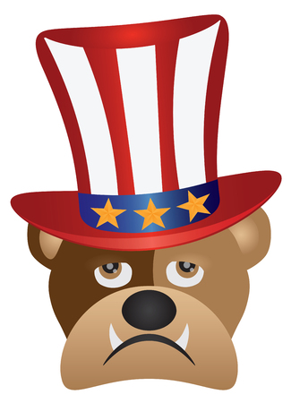 Fourth of July Hat on English Bulldog with Red White Blue Stripes and Gold Stars for 4th July Independence Day Illustration Illustration