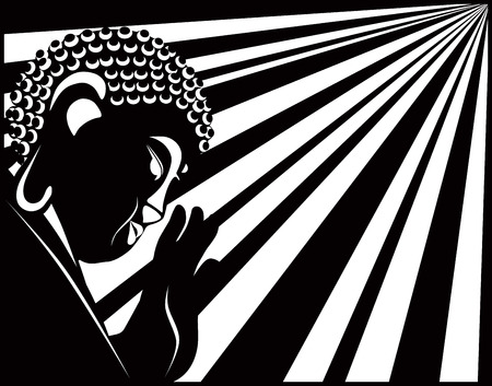 Buddha with raised hand palm and sun light rays in border black and white illustration