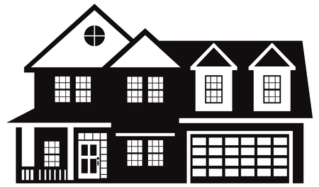 Two level house with two car garage black and white outline illustration Ilustração