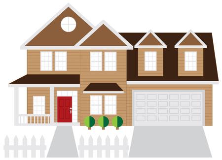 Two level house with two car garage color outline illustration Illustration