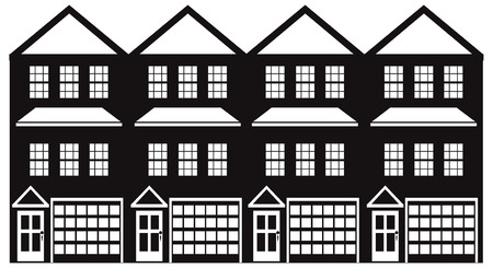 Row of three level townhouse with tandem two car parking garage black and white outline illustration