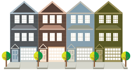 row houses: Row of three level townhouse with tandem car parking garage on tree lined street color outline illustration