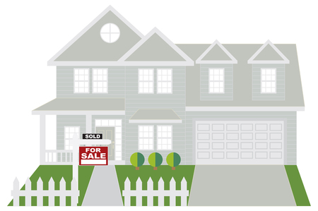 Two level house with two car garage with sold for sale sign on front lawn color outline illustration Illustration
