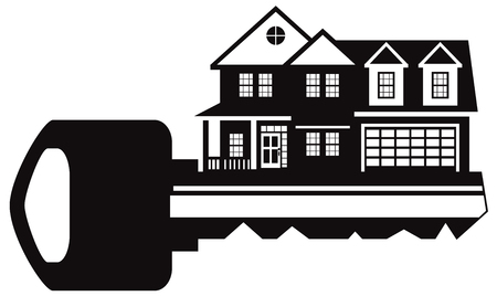 Key to two level new house with two car garage black and white outline abstract illustration Illustration
