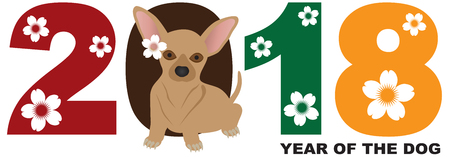 2018 Chinese Lunar New Year of the Dog Numeral with Chihuahua Color Illustration