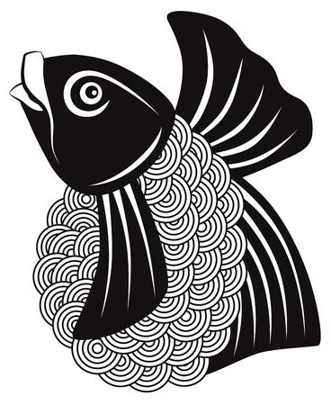 鯉が泳ぐ抽象的な黒と白の概要図