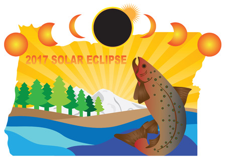 2017 Solar Eclipse Totality across Oregon State map color illustration