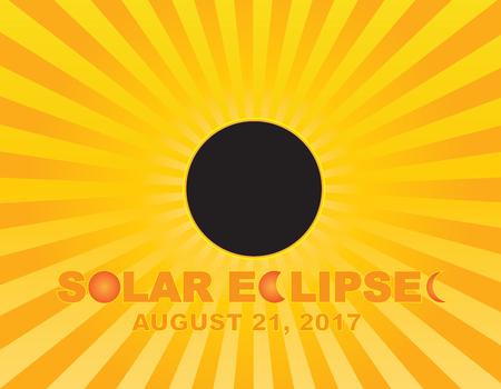 2017 태양 이클립스 Totality 미국 전역 미국 숫자 및 텍스트에 태양 광선 배경 색상 그림