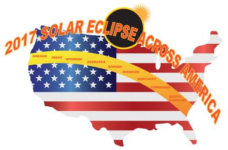 2017 미국 미국에 걸쳐 전체 태양 이클립스지도 색 그림