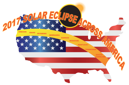 2017 Total Solar Eclipse across America USA map color illustration Illustration
