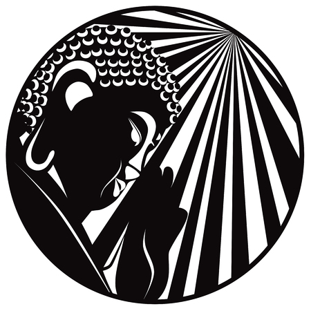 Buddha with raised hand palm and sun light rays in circle border black and white illustration