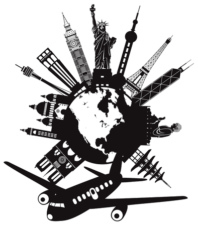 Travel around the world by airplane with landmarks on round globe black and white illustration