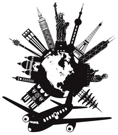 Viaje alrededor del mundo en avión con puntos de referencia en la ilustración en blanco y negro de globo redondo Foto de archivo - 81208173