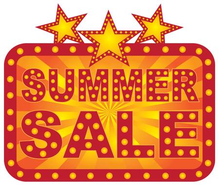 Retro Marquee store summer sale sign with lights stars sunrays Illustration Illustration