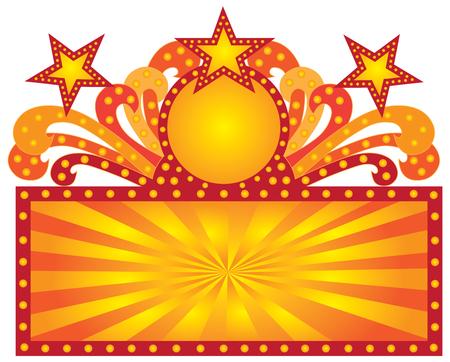 レトロなマーキー劇場のサインとスクロール ライト日光星の図