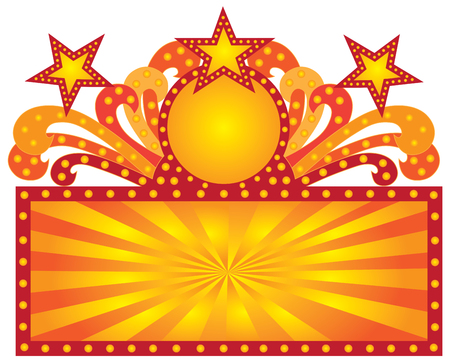 Retro Marquee Theater Sign With Scrolls Lights Sunrays Stars Illustration