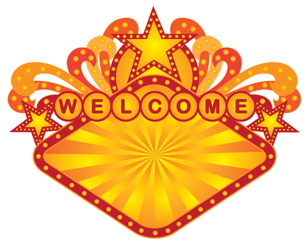 Retro Marquee welcome sign with lights sunrays stars Illustration