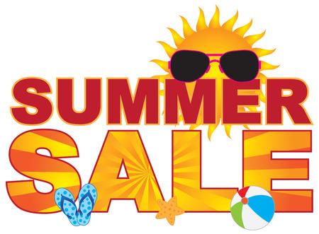 Summer Sale retail store sign banner with sunglasses flip-flop beach ball sun illustration