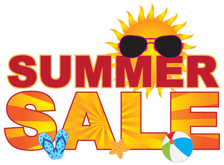 Summer Sale retail store sign banner with sunglasses flip-flop beach ball sun illustration