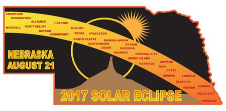 2017 Solar Eclipse Totality across Nebraska State cities map color illustration Ilustração