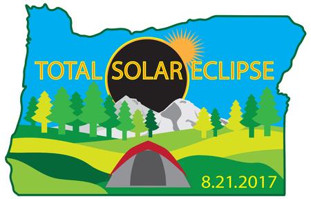 2017 Totaal zonsverduistering pad over Oregon State camping tent kleur illustratie