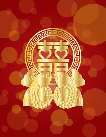 Double Happiness Gold Koi Fish Chinese Wedding Symbol Text on red background illustration Illustration