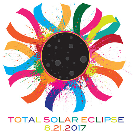 2017 Solar Eclipse Totality Corona text color illustration