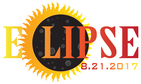 2017 Solar Eclipse Abstract Text Sun Moon Illustration Иллюстрация