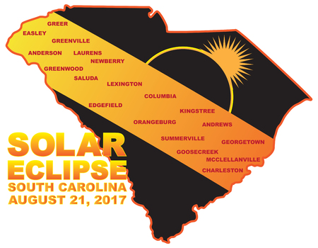 2017 Solar Eclipse Totality across South Carolina State cities map color illustration Illustration
