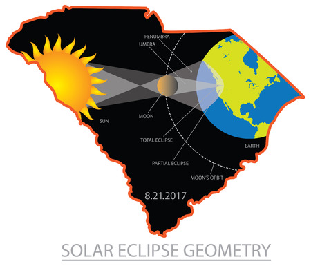 2017 Solar Eclipse Geometry Totality across South Carolina State cities map color illustration