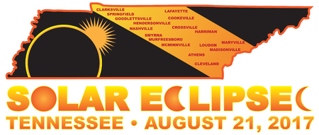 2017 Solar Eclipse Totality across Tennessee State cities map color illustration