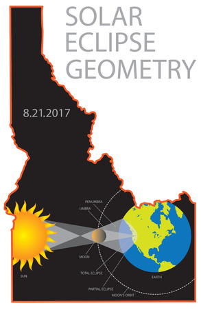 challis: 2017 Solar Eclipse Totality Geometry across Idaho State cities map color illustration