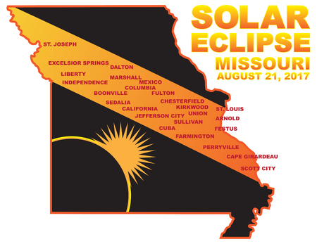 2017 Solar Eclipse Totality across Missouri State cities map color illustration